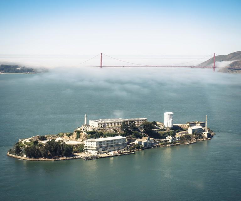 Alcatraz island with Golden Gate bridge on san Francisco