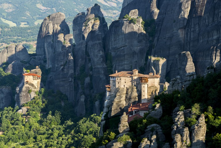 The monasteries of Meteora (showing the Holy Monastery of Roussanou in the foreground), Greece