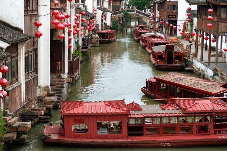 Beautiful Suzhou The Venice of China with Boats,people,China.