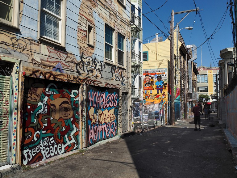 View Of Clarion Alley Mural Paintings, Mission District, San Francisco, California