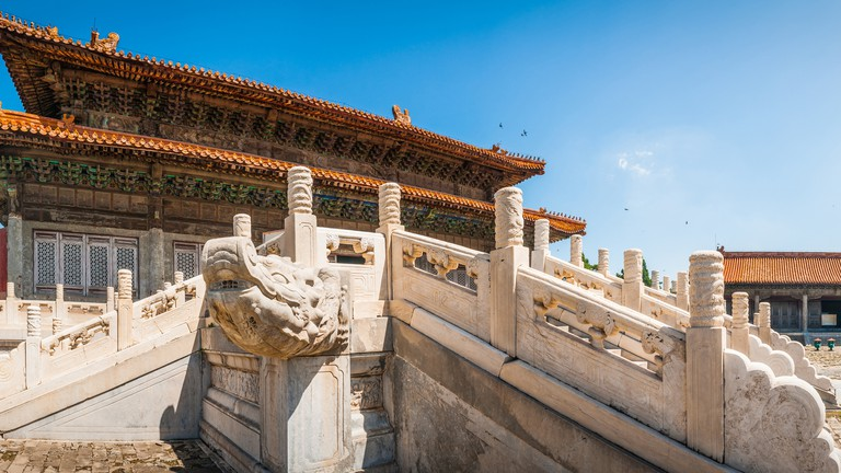 China ornate marble dragons historic pagoda halls Qing Tombs panorama