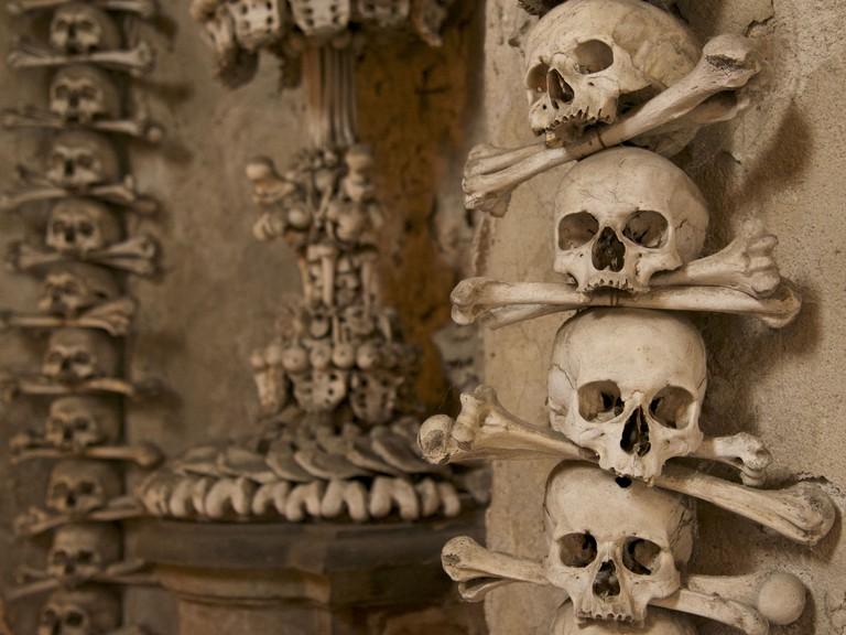 Bones and skulls on wall, Kutna Hora, Central Bohemian Region, Czech Republic