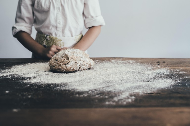 Baker baking bread. Learn the techniques for mixing, kneading, proving and shaping the different types of dough