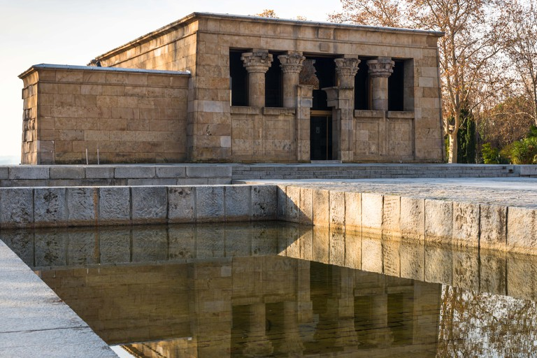 Templo de Debod, Nubian temple, dusk, a gift from the Egyptian government to Spain in 1968, Madrid, Spain, Iberian Peninsula,