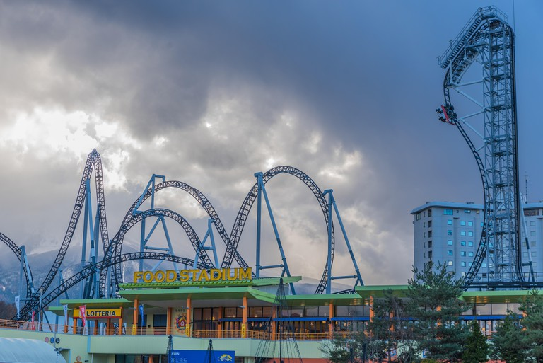 """Fuj-Q Highland, Yamanashi Prefecture , Japan - December 6, 2014: A huge brand new roller coaster with """"the steepest drop in the world at 121°Coaster"""
