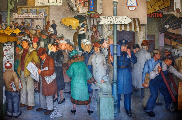 Fresco Murals inside Coit Tower showing a scene of city life, San Francisco, California, United States