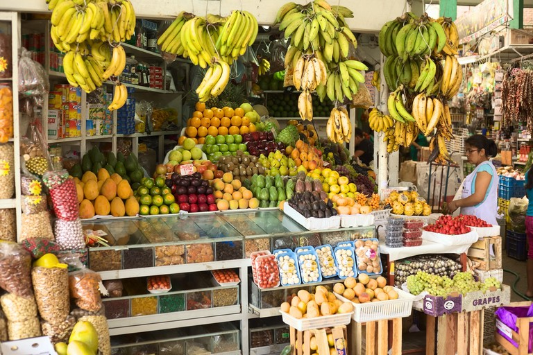 Fruit stand in Surquillo Market in Lima, Peru.