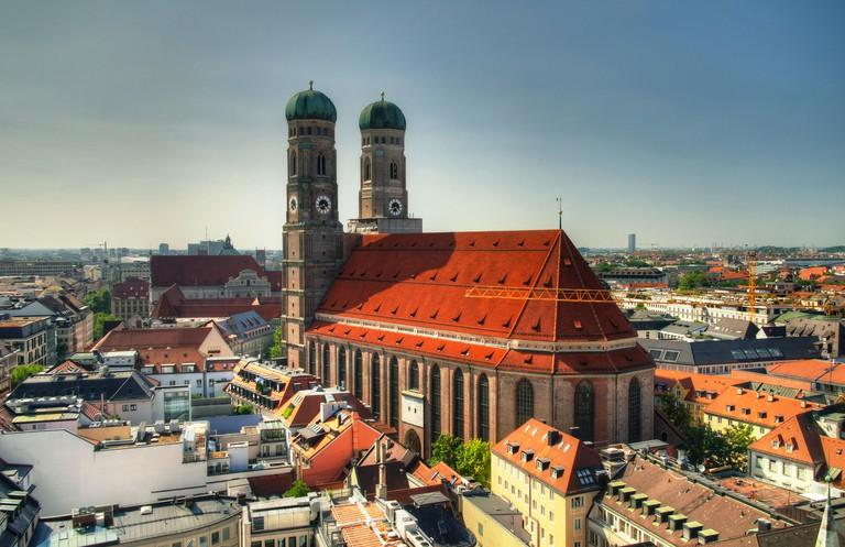 Aerial view to Frauenkirche church Munich, Germany