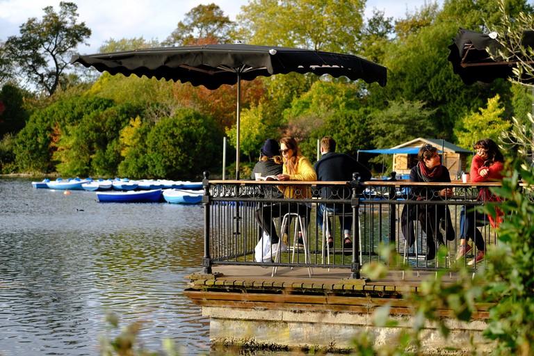 Pavilion Cafe by the boating lake, Victoria Park, Hackney, London, United Kingdom