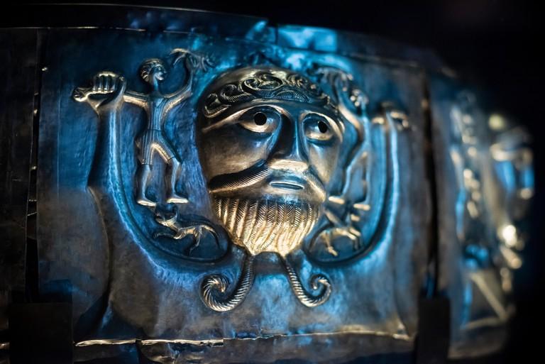 Copenhagen. Denmark. The Gundestrup cauldron, richly decorated silver bowl, National Museum of Denmark.