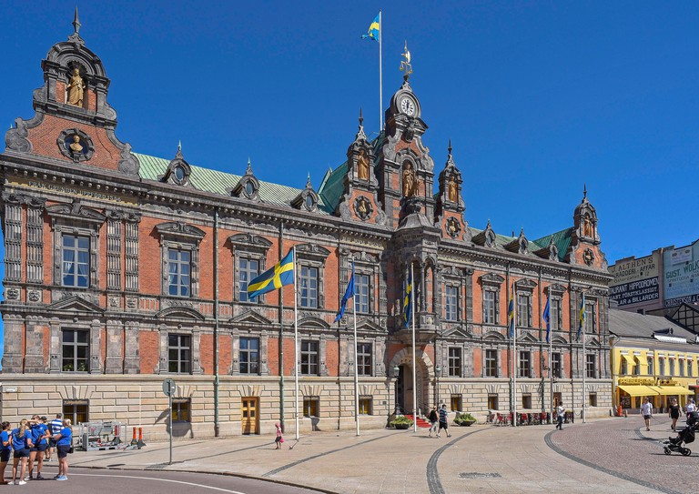 The Malmo Radhus, the attractive old Town Hall set in the Stortorget Square,  the largest and also the oldest square in Malmo. Originally it was the l