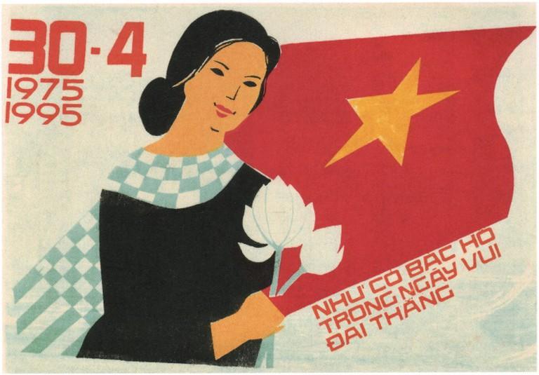 Vintage Vietnam Propaganda Poster, flowers and flag