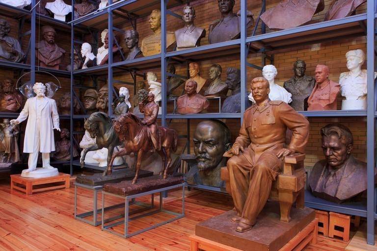 Statues of the Soviet politicians Joseph Stalin (1878-1953) and Vladimir Lenin (1870-1924) at the Zair Azgur Memorial Studio in Minsk, Belarus