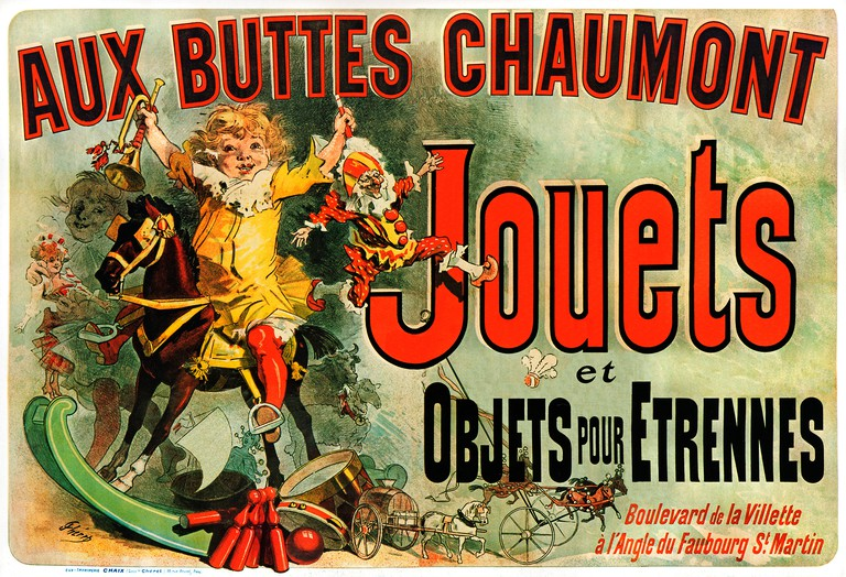 Jules Cheret Buttes Chaumont 1885 Art Nouveau poster for the toys and games in the Paris Department Store. Image shot 1890. Exact date unknown.