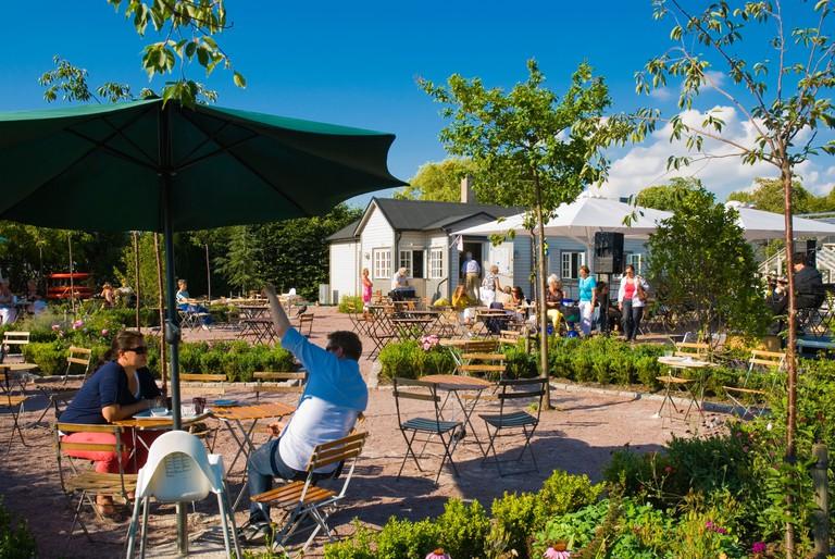 Cafe Slottstradgarden park in Malmo Skane Sweden Europe