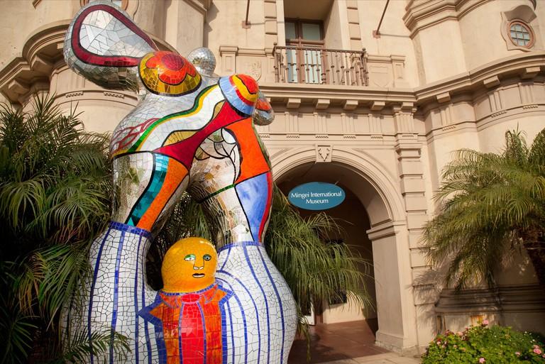 Niki de Saint Phalle sculpture at the entrance of the Mingei International Museum in Balboa Park San Diego CA