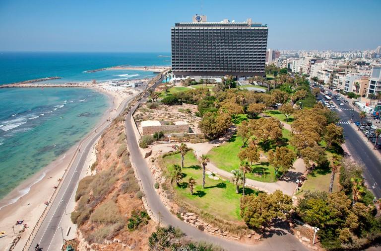 Hilton Hotel and Independence Park, Hayarkon Street, Tel Aviv, Israel, Middle East