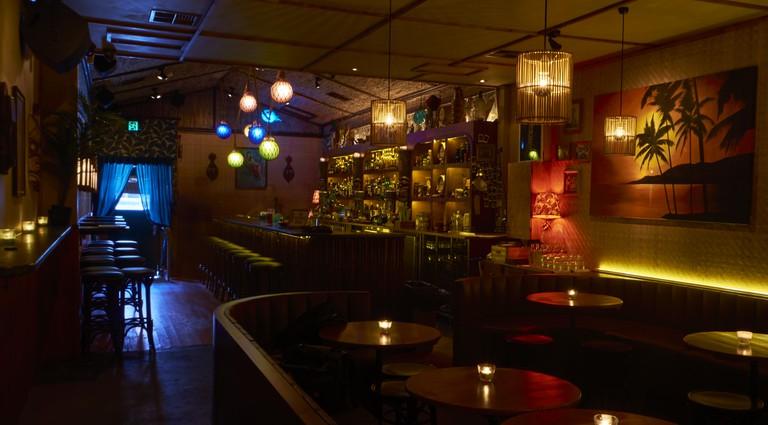 Interior of Jacoby's Tiki Bar