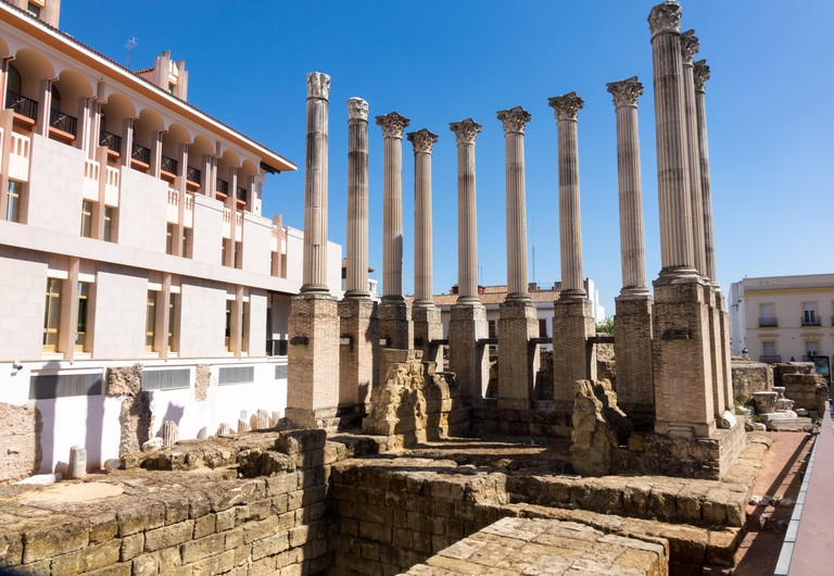 Roman Temple in old city of Cordoba, Spain.