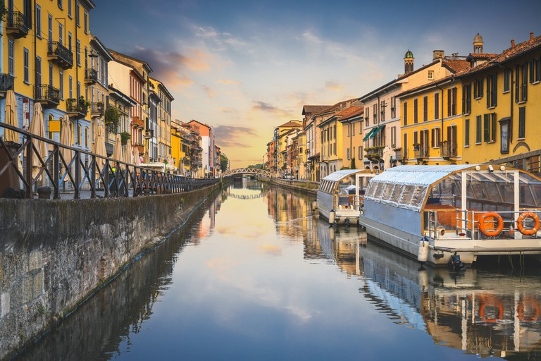 Navigli canals in the old town at sunset, Milan, Italy