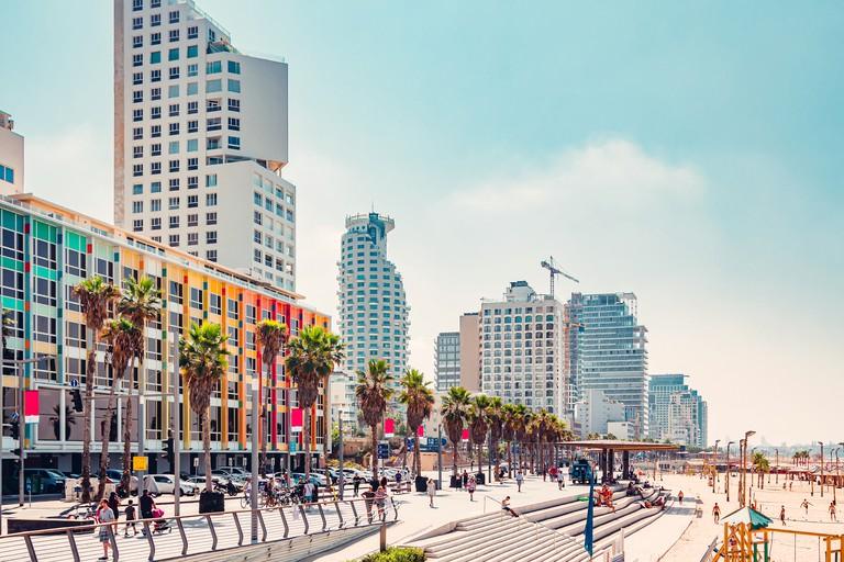 Tel Aviv promenade and Mediterranean beach