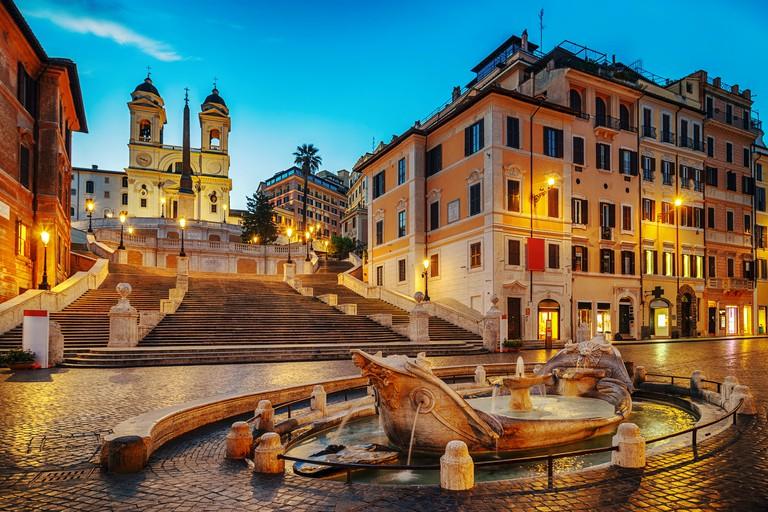 Fontana della Barcaccia in Piazza di Spagna with Spanish Steps