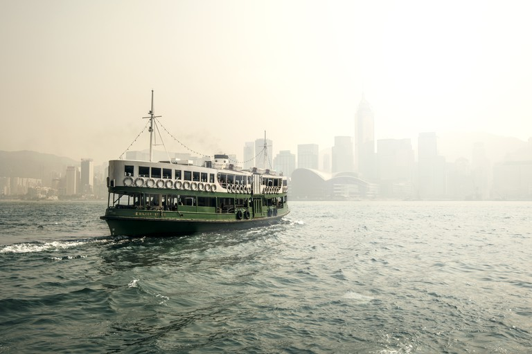 Star Ferry in the mist Hong Kong Harbour