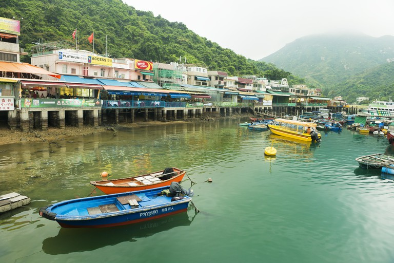 Lamma Island Scenic Harbor Boats in Sok Kwu Wan Village