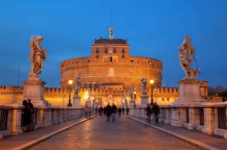 Sant'Angelo Bridge and Castel Sant'Angelo at night