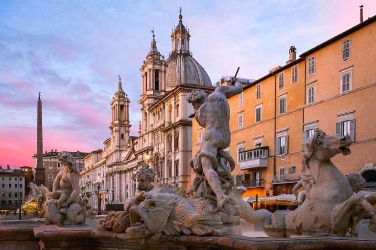 Fountain of Neptune, Piazza Navona, Rome, Italy