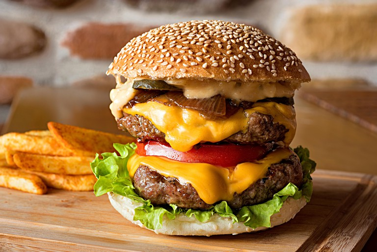 Double cheeseburger with french fries