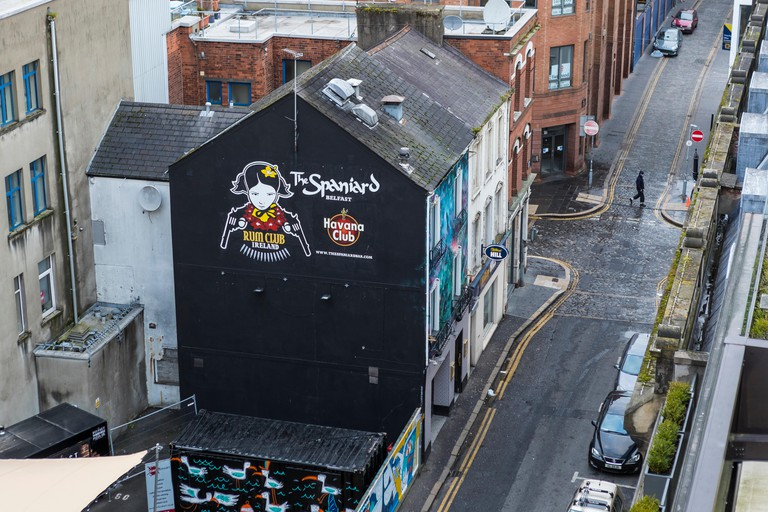 Belfast skyline featuring The Spaniard bar on Skipper Street.