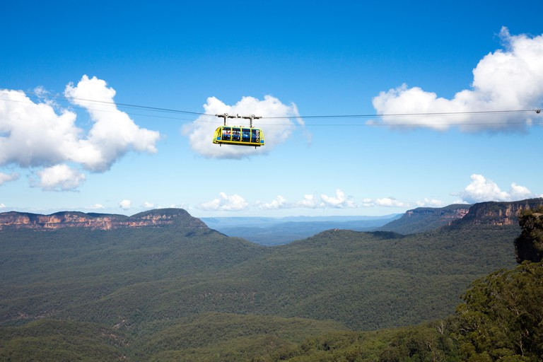 Scenic World cable car crossing the Jamison Valley in the Blue Mountains national park