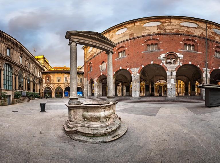 Palazzo della Ragione and Piazza dei Mercanti in the Morning, Milan, Italy