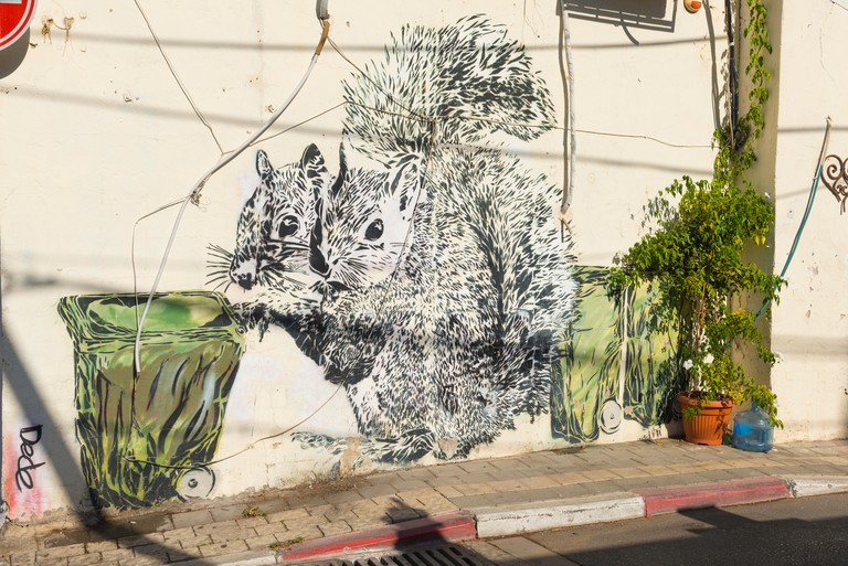 Graffiti street scene art squirrels push green wheelie bin by Israeli artist Dede Bandaid