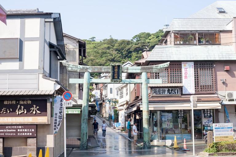 The entrance of the Enoshima shopping street on Enoshima Island