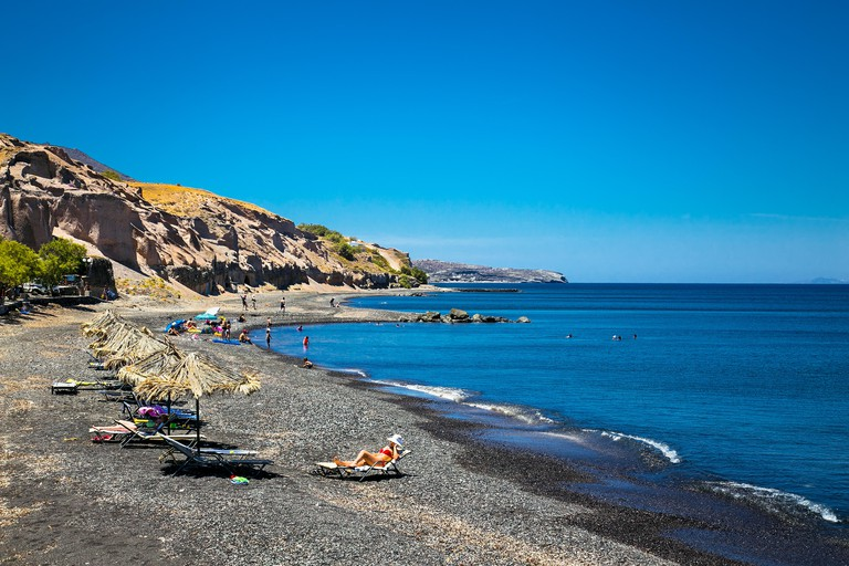 Black Vourvoulos Beach on Santorini island, Greece.