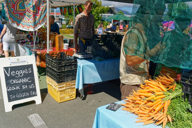 Organic vegetables stall at the Takaka village market, Golden Bay