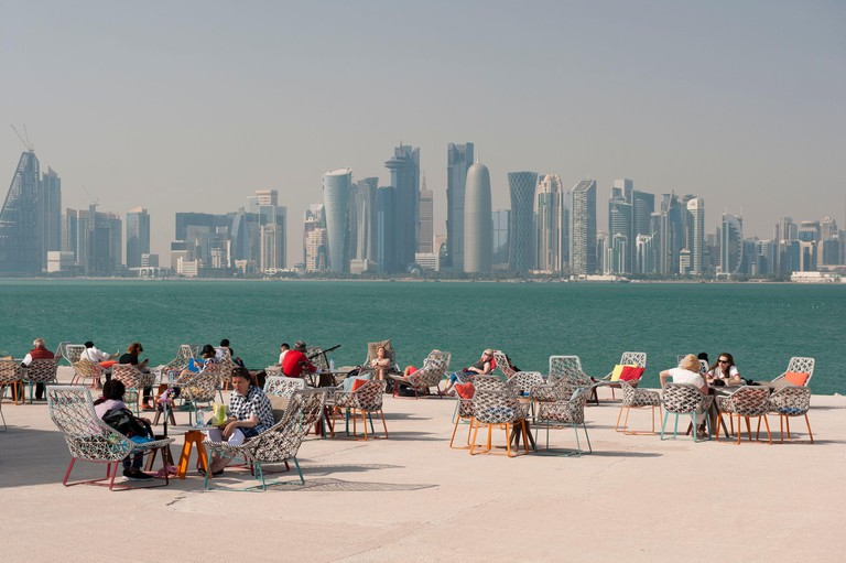 View of Doha city skyline from MIA Park Coffee Shop