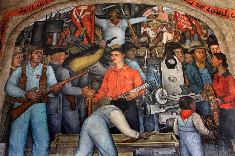 Diego Rivera murals ( wall paintings) in the Secretary of Public Education building in Mexico City. Image shot 2012. Exact date unknown.