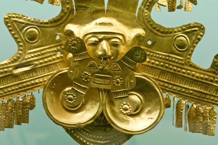 Gold pieces, Gold museum of Zenu culture, Cartagena de Indias, Bolivar Department,, Colombia, South America