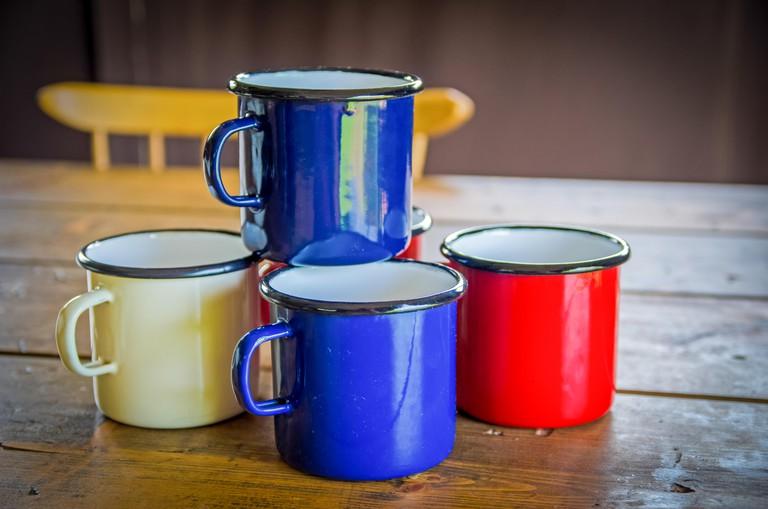 Tin coffee, tea mugs