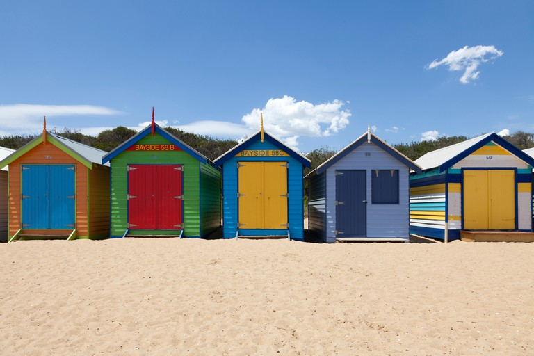 Painted Beach huts in Melbourne Brighton Beach, Australia