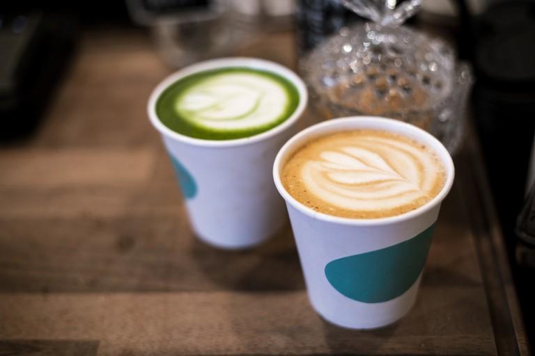Latte and green matcha latte