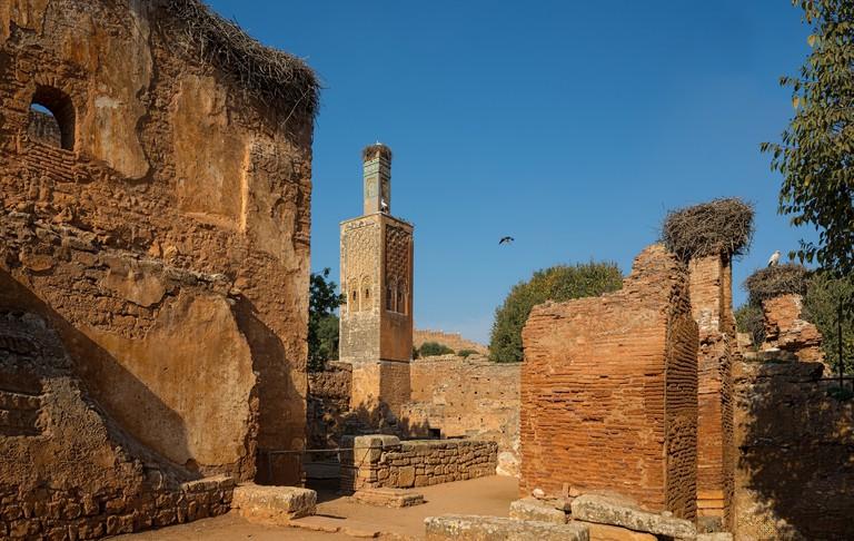 Mosque and minaret ruined of Chellah necropolis. Rabat. Morocco.