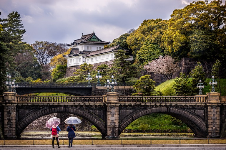 Two ladies in front of the Imperial Palace