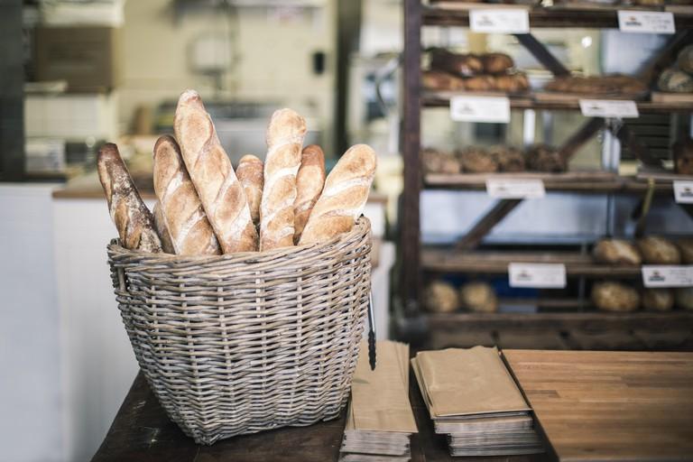 bread baguette in a bakery