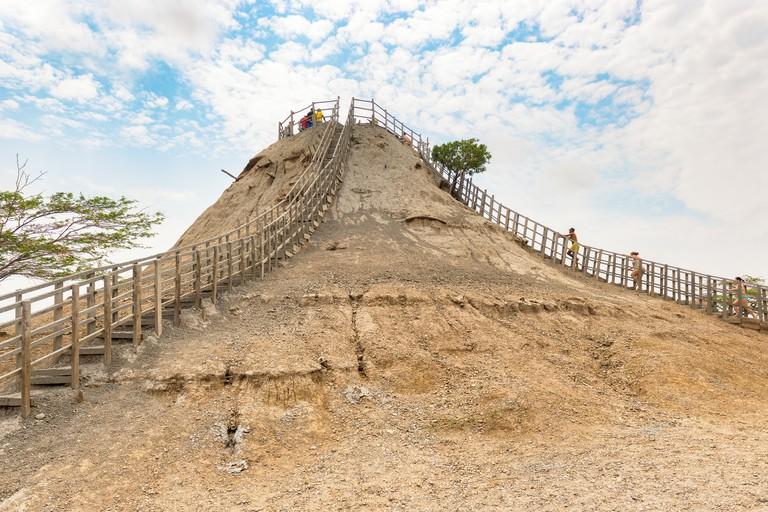 View of Totumo Volcano, mud bath activity near Cartagena, Colombia.