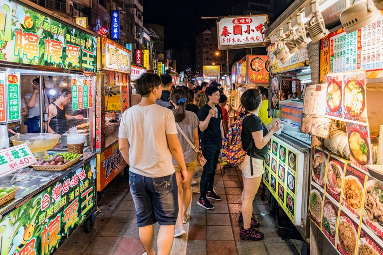 Ningxia night market, well known for its wide variety of street food