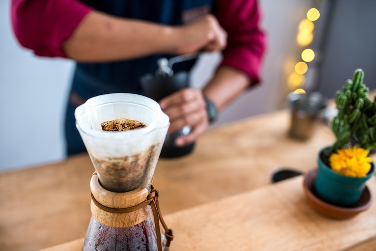 Preparing fresh organic Coffee in Cali, Colombia